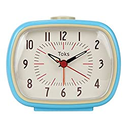 Lily's Home Quiet Non-Ticking Silent Quartz Vintage/Retro Inspired Analog Alarm Clock - Blue