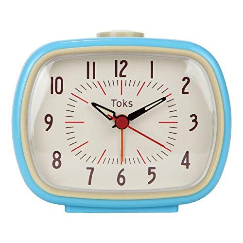 Lilys Home Quiet Non-Ticking Silent Quartz Vintage/Retro Inspired Analog Alarm Clock - Blue