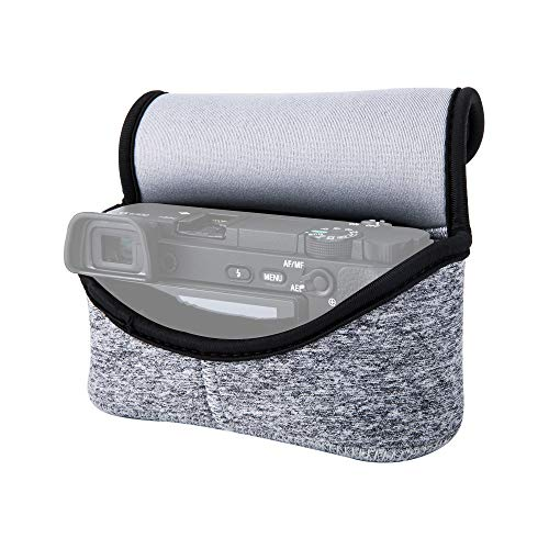 JJC Neoprene Camera Case Protective Sleeve Pouch for Sony Alpha A6000 A6100 A6300 A6400 A6500 A6600 A5100 A5000 + E 18-55mm/10-18mm/50mm Lens and Other Camera & Lens Below 4.7 x 2.9 x 5.1(W x H x D)