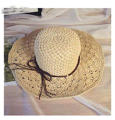 DLYGH SunHat Sun Hat For Women Beige Bowknot Rafia Straw Hat Folded Summer Hat Wide Roundabout Beach Hat Women Holiday Upf50+