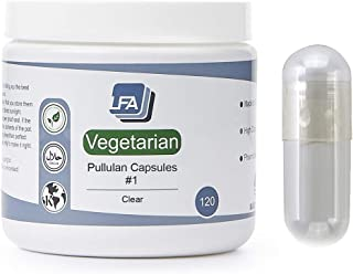 LFA Empty Pullulan Capsules Size 1 - Clear Fillable Vegetarian Vegan Caps for DIY Powder Supplement Pills - Kosher and Hal...