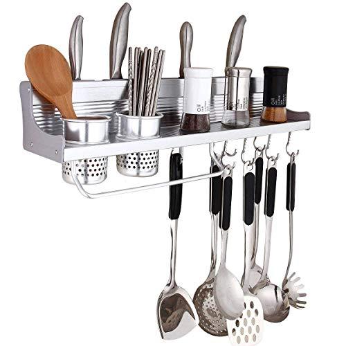 GracesDawn Aluminum Multipurpose Kitchen Utensils Holder Organizer No Drilling235inch Storage Stand Kitchen UtensilsWall Mounted Kitchen Organizer Rack Include Spice RackSpoon Ladle Hanger2Xcup