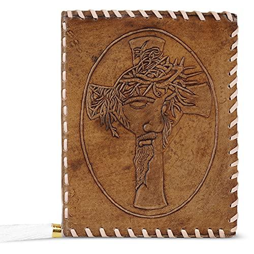 Diario de cuero A5 grabado en relieve Lord Jesús diario de viaje hecho a mano con papel sin forro para escribir y hacer bocetos regalo para hombres y mujeres, 22 x 17 cm