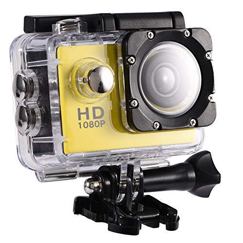 Vbestlife Mini Videocámara Deportiva a Prueba de Agua 1080P Ultra HD 32GB Action Camera al Aire Libre Baterías Recargables con Soporte para Buceo, Nadar, Ciclismo, etc(Amarillo)
