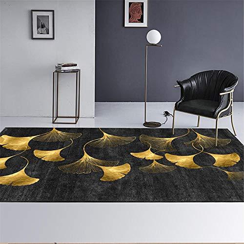Xiaosua Alfombra despacho Amarillo Alfombra de Sala de Estar Hoja Amarilla patrón Simple Alfombra Suave Antideslizante Alfombra Gateo Bebe 160X230CM alfombras Juveniles 5ft 3''X7ft 6.6''