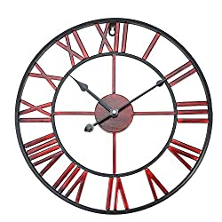 Aramox Wall Clock Classic Metal Large Round Shaped Antique Iron Wall Clock Roman Numerals for Living Room, Home Cafe Decor (Red Wine 40cm)