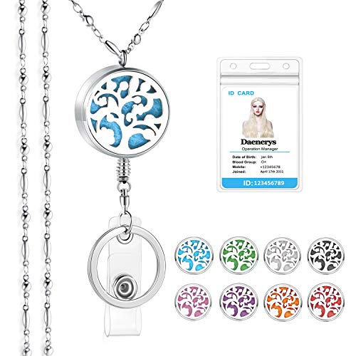 SAM & LORI Strong Lanyard Necklace Stainless Steel Beaded Chain Necklace Silver for ID Badge Holder and Key Chains Non Breakaway Inspirational Charms Pendant for Women Nurse Retractable-Tree of life 4