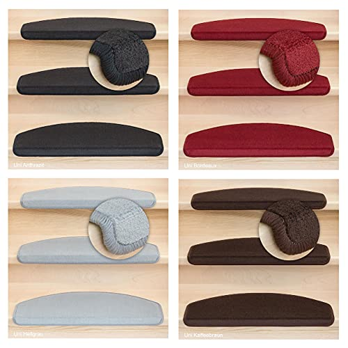 Kettelservice-Metzker® Stufenmatten Vorwerk Uni Antares Halbrund 65x24x4cm Bordeaux 14 Stück