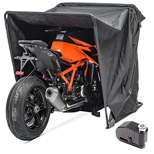 Garage pieghevole XL Set + Blocca disco con allarme moto Motoguard universel