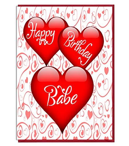 Liefde Hart Verjaardagskaart - Gelukkige Verjaardag Babe - Liefhebber - Partner - Vrouw - Vriendin - Echtgenoot - Vriendje