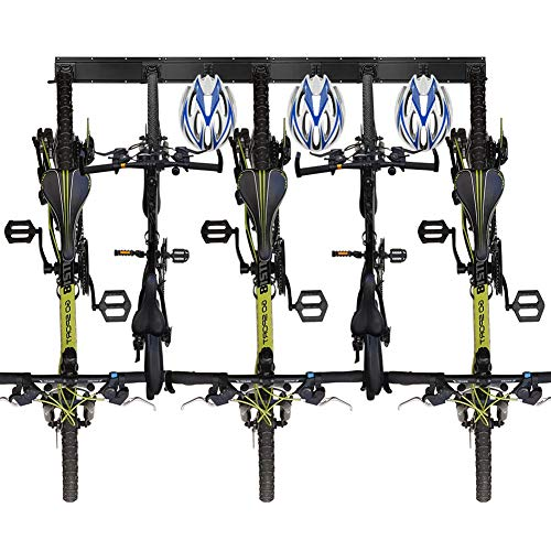 Wall Bike Rack Storage Holds 5 Bicycles and 3 Helmets for Garage Space Saving,Adjustable Heavy Duty Bike Wall stand Hanger Fits All Bikes even Wide tire mountain bike and beach cruiser holds 520 lbs
