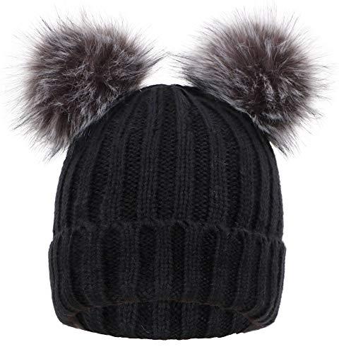 Women's Winter Chunky Knit Pompom Ski Snowboard Beanie Hat Black Hat Black Grey Ball