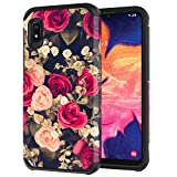 ANLI Samsung Galaxy A10e Case, Fashion Floral Design Drop Protection Hybrid Dual Layer Armor Protective Case Cover for Girls and Women Rose Flowers