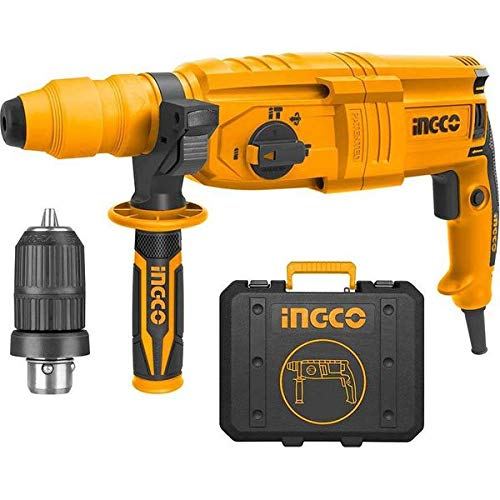 Ingco Innovative Industrial 800W Rotary Hammer Cum Breaker Cum Demolition Hammer With 3 drills and 2 chisels
