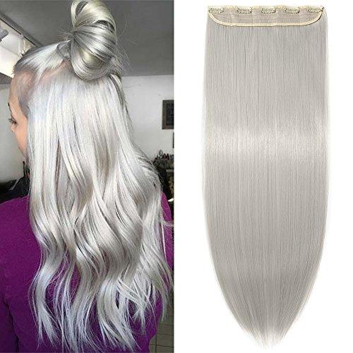 66cm Haarteil Clip in Extensions 1 Tresse 5 Clips Haarverlängerung Human Hair wie Echthaar Glatt Silber-Grau 26