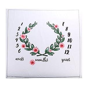 Manta con estampado floral para bebé, a modo de fondo fotográfico, con diseño de corona con tabla de meses para recién…