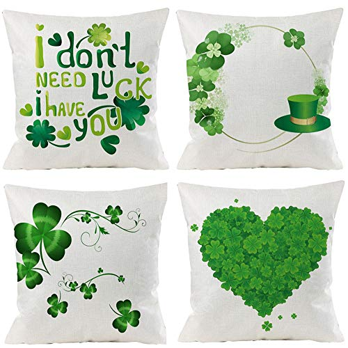 4 Pack St. Patrick's Day Pillow Covers St. Patrick's Day Decorations Farmhouse Throw Pillow Covers Cotton Linen Cushion Case 18x18 Inches