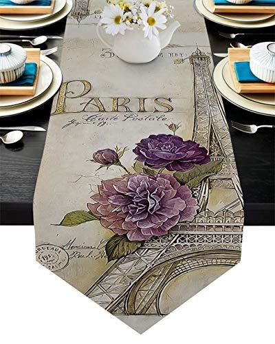 Camino de mesa de arpillera dibujado a mano flores moradas mariposa y Paris Tieran mantel bufandas para aparador, 33 x 177 cm