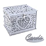 Ywlake Wedding Money Box Holder with Sign, Large Rustic Wood Wooden DIY Envelop Gift Card Boxes with Lock Slot for Reception Anniversary Graduation Birthday Party Parties (Mr & Mrs, Silver)