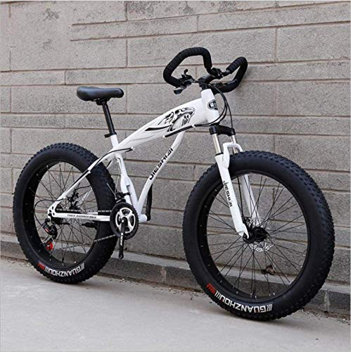 HCMNME Durable Bicycle, 26 inch Snow Bike Super Wide tire Variable Speed 4.0 Snow Bike Mountain Bike Butterfly Handle Alloy Frame with Disc Brakes