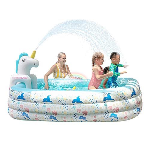 Doctor Dolphin Inflatable Pool for Kids, 94.5' X 65' X 24' Pool with Unicorn Spray, Lounge Blow up...