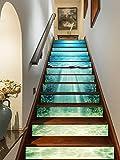 FLFK 3D Oceano azul profundo auto-adhesivos Pegatinas de Escalera pared pintura vinilo Escalera calcomanía Decoración 39.3 pulgadas x7.08 pulgadas X 13Piezas