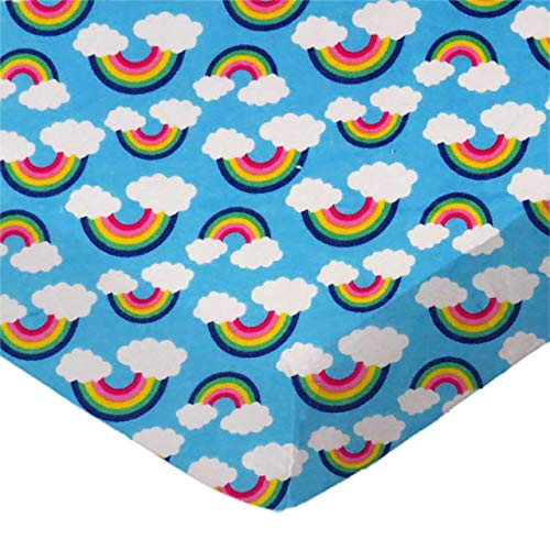 %41 OFF! SheetWorld Fitted 100% Cotton Flannel Pack N Play Sheet Fits Graco Square Play Yard 36 x 36, Rainbows Blue, Made in USA