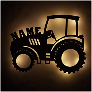 Farmer Adult Kids Men Gifts for Boys & Girls I Unique Tractor LED Room Night Light Personalized with Name
