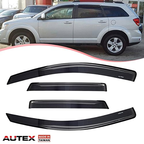 AUTEX 4Pcs Tape on Window Visor Compatible with Dodge Journey 2009 2010 2011 2012 2013 2014 2015 2016 2017 2018 Side Window Deflector Rain Shade Visors