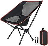 Silla de camping portátil, compacta, plegable, silla de jardín ultraligera con una bolsa de transporte para exteriores, senderismo, camping, festivales, picnic (negro 2)