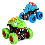 LODBY Dinosaur Trucks Toys for 2-6 Year Old Boys Gifts, Pull Back Vehicles for Kids Outdoor Playset Trucks for Age 2-6 Year Old Boy Birthday Gifts, Dino Race Trucks for Toddler Boy Toys Age 2-6