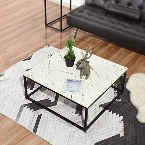 No branded Homy Lin Mesa de Centro Rectangular - Mesa de Centro Lateral Moderna Blanca con Gran Espacio de Almacenamiento para Sala de Estar, Salón, Jardín(Pie Negro)