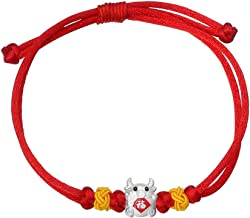 KESYOO Chinese Zodiac Silver Ox Charm Bracelet Red String Good Luck Bracelet Chinese Zodiac New Year of The Ox Party Gifts