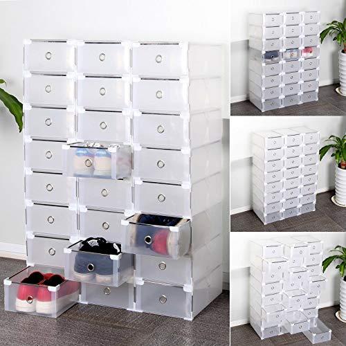 24 x Schuhaufbewahrung Schuhbox Schuhkasten Stapelbox Schuhkarton Aufbewahrungsbox Mit Deckel, Plastik Schuh Boxen Faltbare & Stapelbare DIY Schuhschachtel (Transparenter weißer Rand 24St)