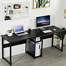 Sedeta Double Workstation Desk, 78 inches Dual Desk Two Person Computer Desk with Storage, Extra Large Home Office Desk, Multifunction Writing Desk with Shelf, Black