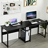 Sedeta Two Person Desk, Double Workstation Desk, 78 inches Computer Desk with Storage, Extra Large Home Office Desk, Multifunction Writing Desk with Shelf, Black