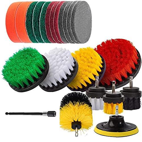 LjzlSxMF Perforar Kit del Cepillo Adjunto, 22 Cepillos de perforación PCS Potencia del depurador y Fregar Pad de Limpieza Piscina Cocina Planta Jardín