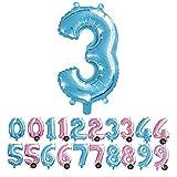 Haioo Globo Número de Cumpleaños en Metalizado Ideal para Fiesta de cumpleaños y Aniversarios Hinchable y Deshinchable (Azul 3)