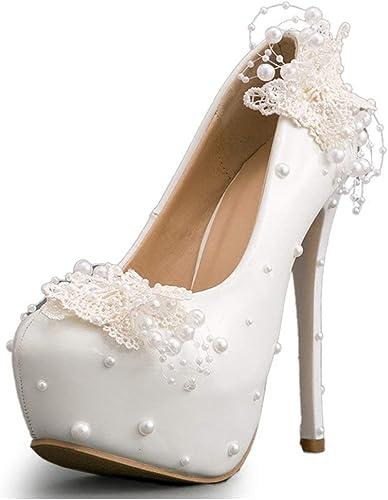 ZHRUI Chaussures de Mariage en Satin à Talons Hauts avec Plateforme pour Femmes (Couleuré   blanc-14cm Heel, Taille   6.5 UK)