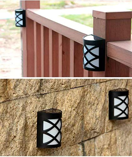 Paquete de 2 luces solares LED blancas para pared, porche, jardín, valla, camino, energía solar, exterior, patio, cubierta, lámpara de patio, luces con sensor de anochecer a amanecer
