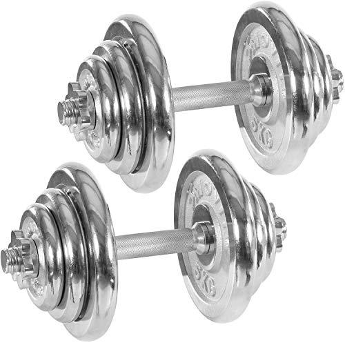 Movit® Kurzhanteln PRO 2er Set, Chrom Gusseisen Hanteln, 40kg, Stange 30mm Standardnorm, Griff gerändelt, Sternverschlüsse, Hantel Set Kurzhantelset Gewichte