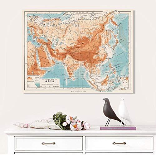 Posters kaart van Azië, Europa, Afrika affiches en prints muurkunst canvas schilderij kaart decoratieve afbeeldingen voor woonkamer Home Decor B. 40 x 50 cm.