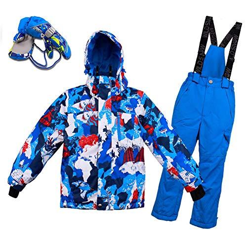 Kids Ski Jas Bib pak Meisjes Jongens Winter Hooded Waterdichte Ski Suit Sneeuwbroek Set