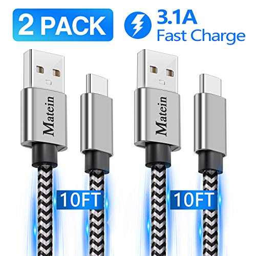 USB C Fast Charging Cable, 2 Pack 10FT Extra Long Durable Braided USB Type C Cable Cord Compatible with Samsung Galaxy S10 S10E S9 S8 S20 Plus,Google Pixel 4 3 3A 2 XL, and Other USB C Charger