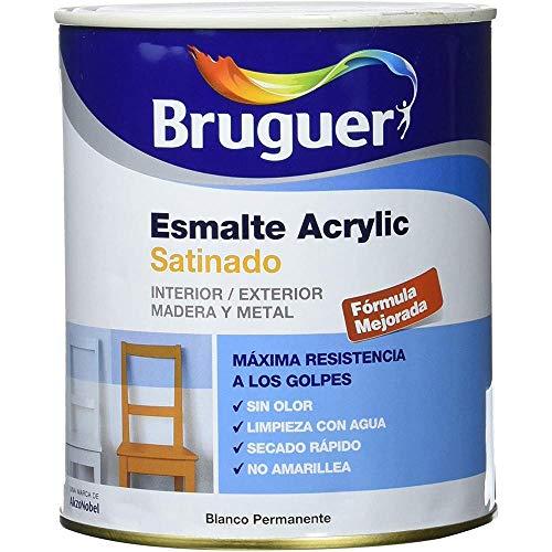 Bruguer - Esmalte Acrlico Satinado Laca Acrylic Blanco Permanente 750 Ml