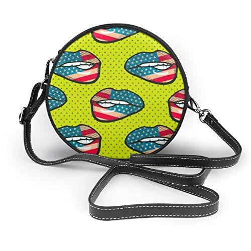 Wrution Lip Pop Art Damen Handtasche mit grünem Hintergrund, personalisierbar, runder Reißverschluss, weiches Leder