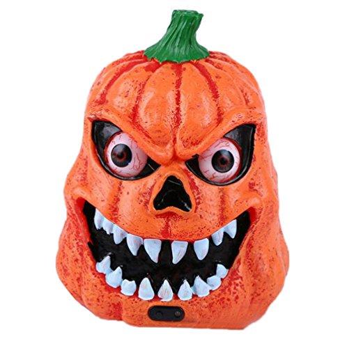 MoGist Orange Pumpkin Head Halloween Fant?me Festival Lights Big Eyes Chauve-Souris Contr?Le Sonore Induction Terreur Fant?me Zombie Ghost Head Light Pierre Fant?me Pumpkin Light