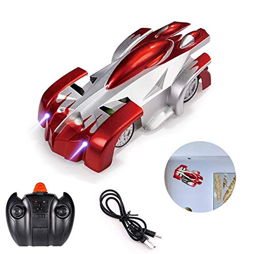 Remote Control Car Rc Cars, Remote Control Wall Climbing RC Car with LED Light 360 Degree Rotating Stunt Toy for Boy & Girl Birthday Toy Car (Red)