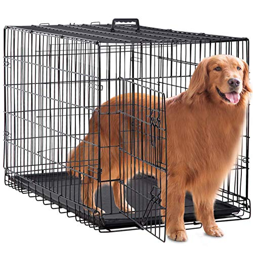 "BestPet Large Dog Crate Dog Cage Dog Kennel Metal Wire Double-Door Folding Pet Animal Pet Cage with Plastic Tray and Handle (48"") Basic Crates"