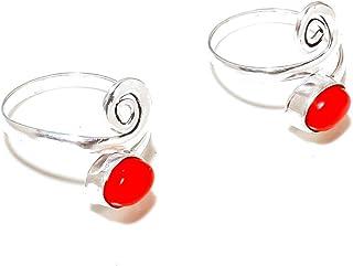 Shivi Corallo Rosso Coppia di Anelli Toe per Ragazze, Regolabile Tradizionale Stile Indiano Placcato in Argento Sterling, ...